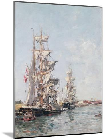 Three-Masted Boats at the Quay in Deauville Harbour, C.1888-89-Eug?ne Boudin-Mounted Giclee Print