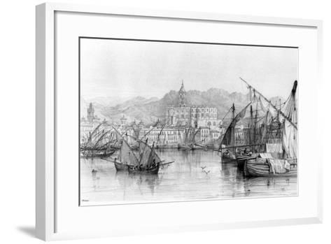 View of Malaga, from 'spanish Scenery' by George Vivian, Published 1838--Framed Art Print
