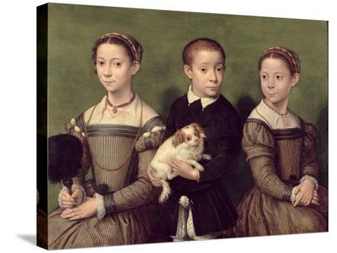 Two Sisters and a Brother of the Artist-Sofonisba Anguissola-Stretched Canvas Print