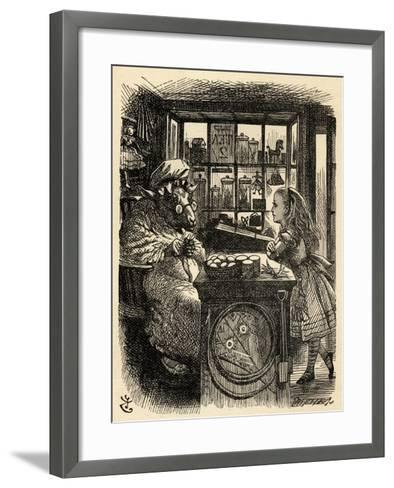 Alice and the Knitting Sheep, Illustration from 'Through the Looking Glass' by Lewis Carroll…-John Tenniel-Framed Art Print