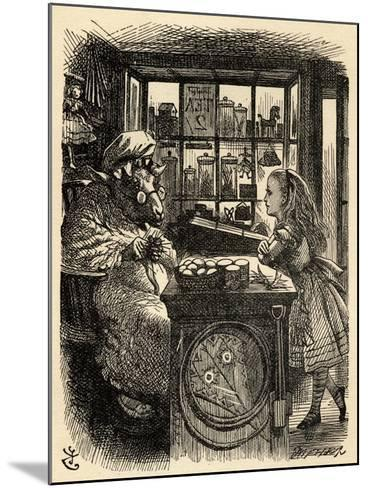 Alice and the Knitting Sheep, Illustration from 'Through the Looking Glass' by Lewis Carroll…-John Tenniel-Mounted Giclee Print