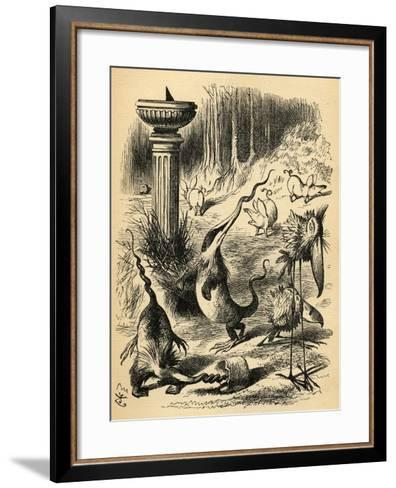 The Borogoves, Toves and the Raths, Illustration from 'Through the Looking Glass' by Lewis…-John Tenniel-Framed Art Print