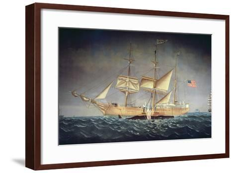 The 'Catalpa' with Whale-American School-Framed Art Print