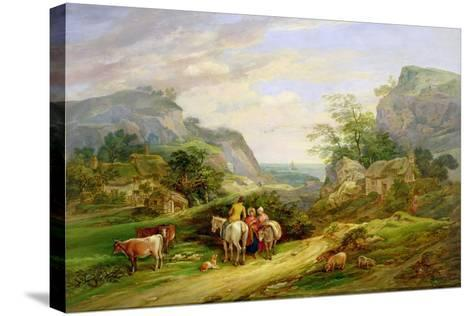 Landscape with Figures and Cattle-James Leakey-Stretched Canvas Print