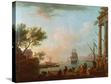 Sea Port, Sunrise, 1757-Claude Joseph Vernet-Stretched Canvas Print