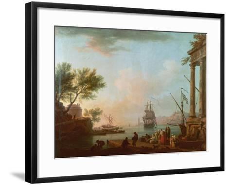 Sea Port, Sunrise, 1757-Claude Joseph Vernet-Framed Art Print