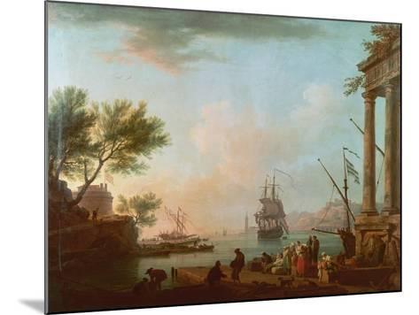 Sea Port, Sunrise, 1757-Claude Joseph Vernet-Mounted Giclee Print