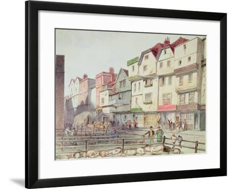 View of Long Lane, with Pigs in Pens in Part of Old Smithfield Market, 1844--Framed Art Print