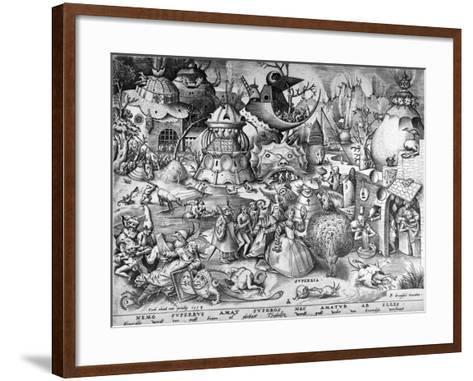 Pride, from the Seven Deadly Sins, Engraved by Pieter Van Der Heyden, 1558-Pieter Bruegel the Elder-Framed Art Print