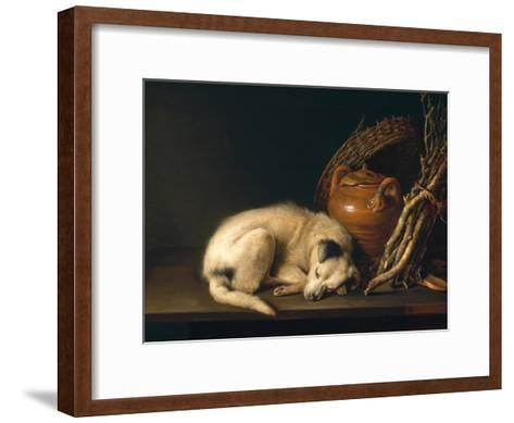 A Sleeping Dog with Terracotta Pot, 1650-Gerrit or Gerard Dou-Framed Art Print