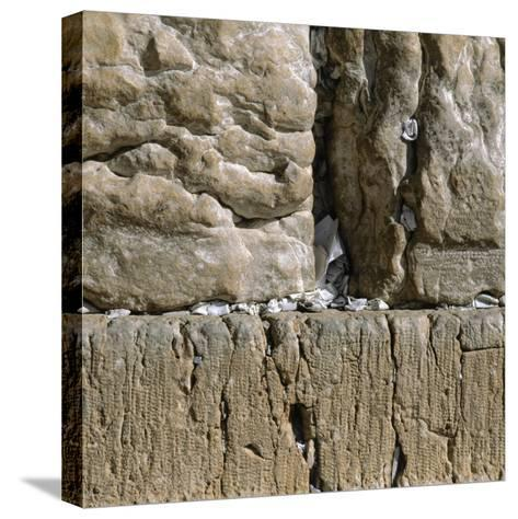 Pieces of Paper with Written Prayers Placed in the Wailing Wall by Pious Jews--Stretched Canvas Print