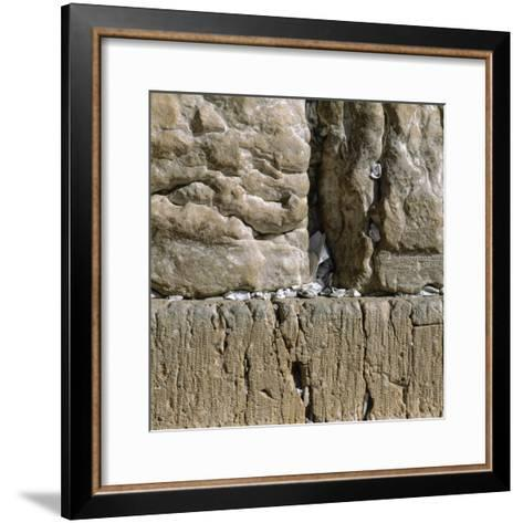 Pieces of Paper with Written Prayers Placed in the Wailing Wall by Pious Jews--Framed Art Print