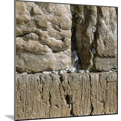 Pieces of Paper with Written Prayers Placed in the Wailing Wall by Pious Jews--Mounted Photographic Print