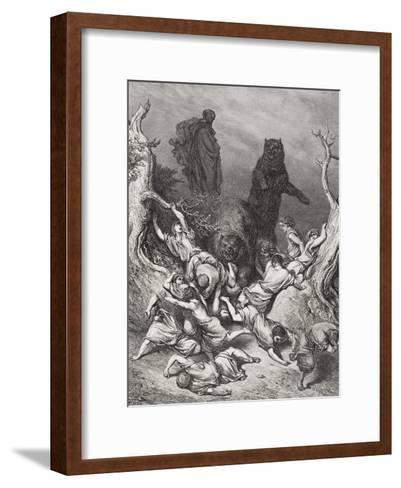The Children Destroyed by Bears, Illustration from Dore's 'The Holy Bible', 1866-Gustave Dor?-Framed Art Print