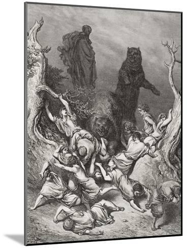 The Children Destroyed by Bears, Illustration from Dore's 'The Holy Bible', 1866-Gustave Dor?-Mounted Giclee Print