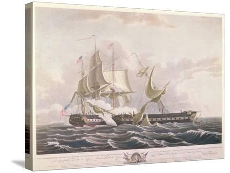 The Battle Between the Uss Constitution and the Hms Guerriere-Thomas Birch-Stretched Canvas Print