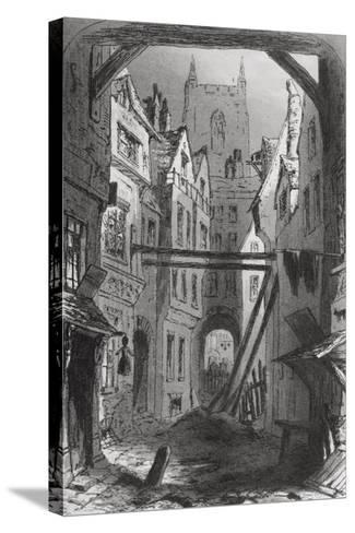 Tom All Alone's, Illustration from 'Bleak House' by Charles Dickens (1812-70) Published 1853-Hablot Knight Browne-Stretched Canvas Print