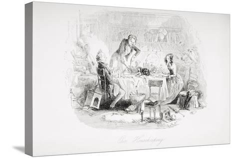 Our Housekeeping, Illustration from 'David Copperfield' by Charles Dickens (1812-70) First?-Hablot Knight Browne-Stretched Canvas Print