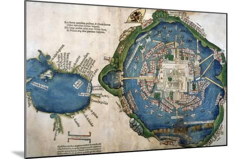Map of Tenochtitlan and the Gulf of Mexico, from 'Praeclara Ferdinadi Cortesii De Nova Maris?--Mounted Giclee Print