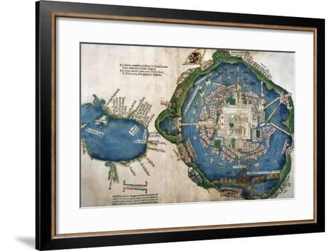 Map of Tenochtitlan and the Gulf of Mexico, from 'Praeclara Ferdinadi Cortesii De Nova Maris?--Framed Art Print