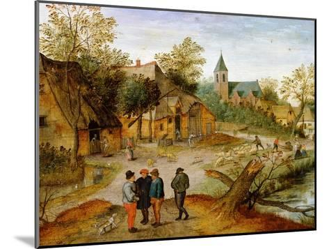 A Village Landscape with Farmers, 1634-Pieter Brueghel the Younger-Mounted Giclee Print
