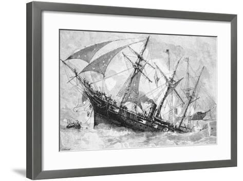 "Sinking of the ""Alabama"", 19 June 1864, Engraved by Schultz-Julian Oliver Davidson-Framed Art Print"