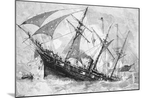 "Sinking of the ""Alabama"", 19 June 1864, Engraved by Schultz-Julian Oliver Davidson-Mounted Giclee Print"