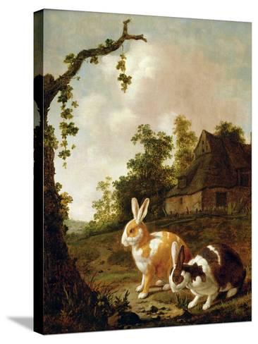 Wooded Landscape with Two Hares-Dirck Wyntrack-Stretched Canvas Print