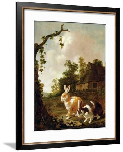 Wooded Landscape with Two Hares-Dirck Wyntrack-Framed Art Print