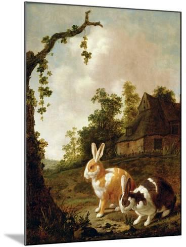 Wooded Landscape with Two Hares-Dirck Wyntrack-Mounted Giclee Print