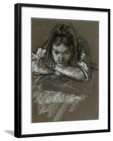 Head and Shoulders of a Girl at a Table-Henry Tonks-Framed Art Print