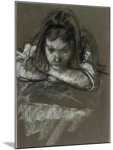Head and Shoulders of a Girl at a Table-Henry Tonks-Mounted Giclee Print