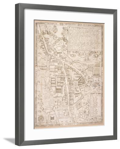 Map of Cambridge, from Caius 'Historia Cantabrigensis Academia', 1574-Richard Lyne-Framed Art Print