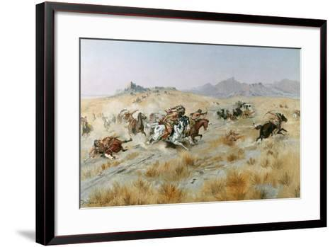 The Attack, 1897-Charles Marion Russell-Framed Art Print