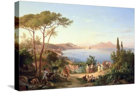 Bay of Naples with Dancing Italians, C.1850-Carl Wilhelm Goetzloff-Stretched Canvas Print