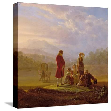 Voltaire Conversing with the Peasants in Ferney-Jean Huber-Stretched Canvas Print