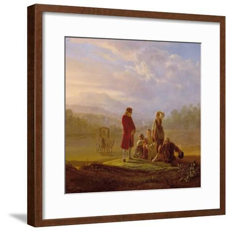 Voltaire Conversing with the Peasants in Ferney-Jean Huber-Framed Art Print