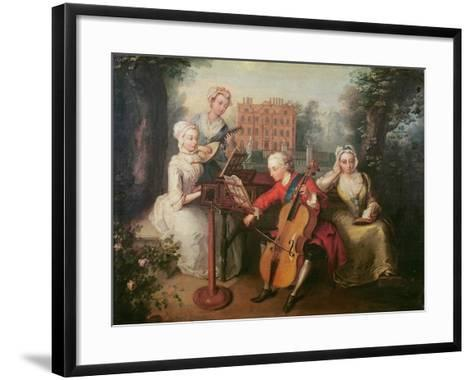 Frederick, Prince of Wales and His Sisters, 1733-Philippe Mercier-Framed Art Print