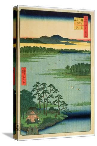 Benten Shrine, Inokashia Pond, from the Series 'One Hundred Famous Views of Edo', 1856-Ando Hiroshige-Stretched Canvas Print