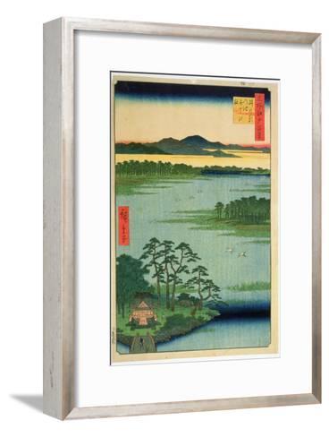 Benten Shrine, Inokashia Pond, from the Series 'One Hundred Famous Views of Edo', 1856-Ando Hiroshige-Framed Art Print