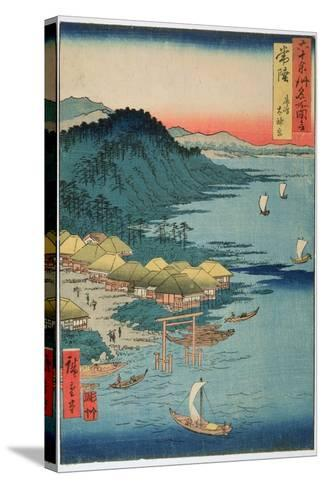 Hitachi Province: Kashima Great Shrine, from the Series 'Illustrations of Famous Places in the…-Ando Hiroshige-Stretched Canvas Print