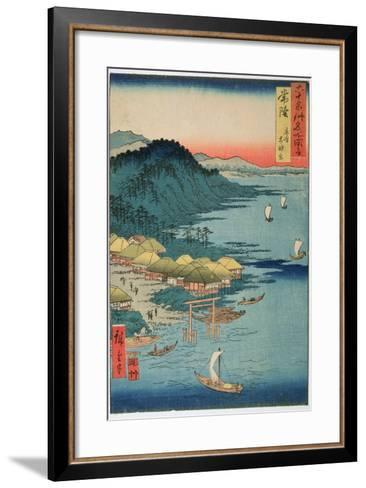 Hitachi Province: Kashima Great Shrine, from the Series 'Illustrations of Famous Places in the…-Ando Hiroshige-Framed Art Print