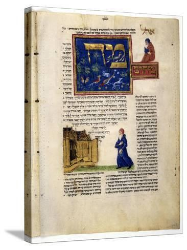 Fol.79V from 'The Rothschild Miscellany', Northern Italy, C.1450-80--Stretched Canvas Print