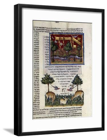 Fol.80 from 'The Rothschild Miscellany', Northern Italy, C.1450-80--Framed Art Print