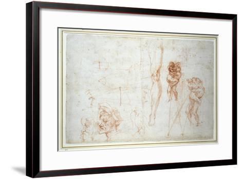 Hercules and Antaeus and Other Studies, C.1525-28-Michelangelo Buonarroti-Framed Art Print