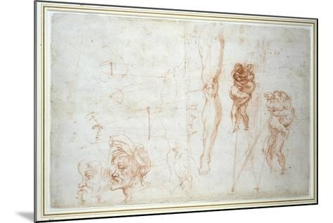 Hercules and Antaeus and Other Studies, C.1525-28-Michelangelo Buonarroti-Mounted Giclee Print