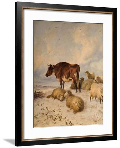 Cows and Sheep in Snowscape, 1864-Thomas Sidney Cooper-Framed Art Print