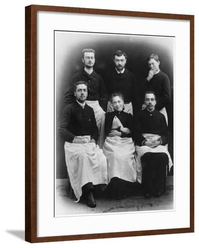 Blanche Edwards-Pilliet with Five House Interns at La Salpetriere Hospital, 1888--Framed Art Print