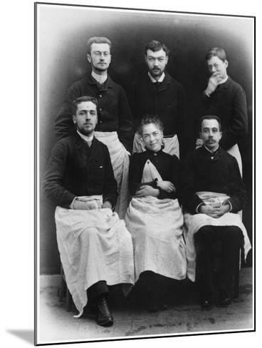 Blanche Edwards-Pilliet with Five House Interns at La Salpetriere Hospital, 1888--Mounted Photographic Print