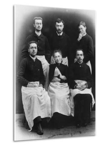 Blanche Edwards-Pilliet with Five House Interns at La Salpetriere Hospital, 1888--Metal Print